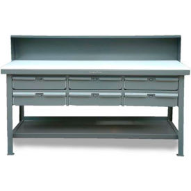 "Strong Hold 72""W x 36""D 6 Drawer with Plastic Top Workbench"