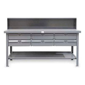 """Strong Hold 60""""W x 36""""D 6 Drawer with  Steel Top Workbench"""