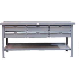 """Strong Hold 60""""W x 36""""D 6 Drawer with  Plastic Top Workbench"""