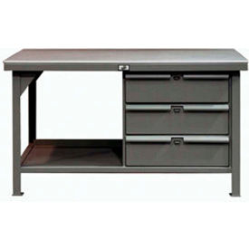 """Strong Hold 60""""W x 36""""D 3 Drawer Plastic Top Workbench"""