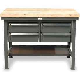 "Strong Hold 72""W x 36""D 4 Drawer with  Maple Top Workbench"