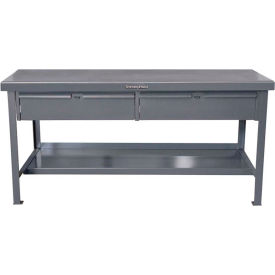 "Strong Hold 60""W x 36""D 2 Drawer with Plastic Top Workbench"