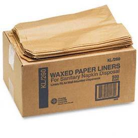 Kraft Waxed Paper Sanitary Napkin Receptacle Liners, 500 Liners per Carton - HOS260