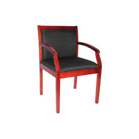 Wood Frame Fabric Guest Chair -Cherry