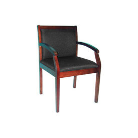Wood Frame Fabric Guest Chair -Mahogany