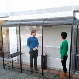 """No Butts 3 Sided Smoking Shelter NBS0812BW - Back To Wall - 7'W x 10'4""""D x 8'2""""H Black"""