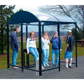"""No Butts 4 Sided Smoking Shelter NBS0812FS - Freestanding - 7'W x 10'4""""D x 8'2""""H Black"""