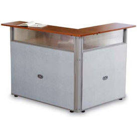 OFM RiZe Series Single Unit L-Shaped Reception Station, Vinyl, Gray with Cherry Finish
