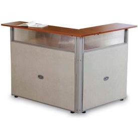 OFM RiZe Series Single Unit L-Shaped Reception Station, Vinyl, Beige with Cherry Finish