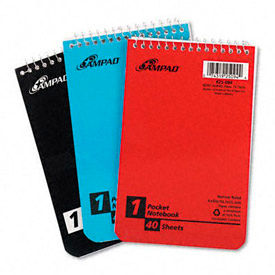 Wirebound Pocket Memo Book, College/Narrow Rule, 4 x 6, 40 Sheets/Pad, 3 Pads/Pk