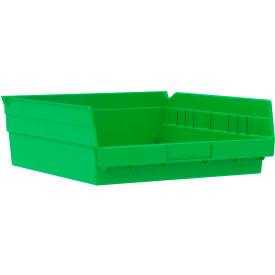 "Akro-Mils Plastic Shelf Bin Nestable 30170 - 11-1/8""W x 11-5/8""D x 4""H Green - Pkg Qty 12"
