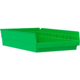 "Akro-Mils Plastic Shelf Bin Nestable 30178 - 11-1/8""W x 17-5/8""D x 4""H Green - Pkg Qty 12"