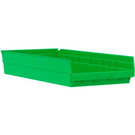 "Akro-Mils Plastic Shelf Bin Nestable 30174 - 11-1/8""W x 23-5/8""D x 4""H Green - Pkg Qty 6"