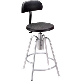 Shop Stool with Backrest - Polyurethane - Black