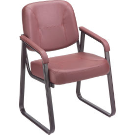 Anti-Microbial Reception Chair Burgundy Vinyl Upholstered