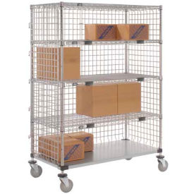 Nexel® Enclosed Wire Exchange Truck 4 Wire 1 Galvanized 800 Lb Cap