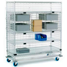 Nexel® Enclosed Wire Exchange Truck 4 Wire 1 Galvanized Shelf 1000 Lb Cap