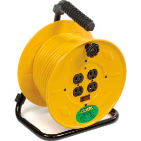 Industrial Cord Reel with Four Grounded Outlets & 80 ft Extension Cord Included