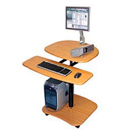 Mobile Computer Workstation Teak