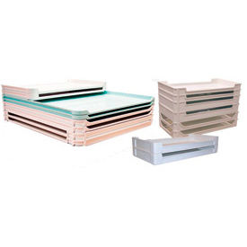 """Molded Fiberglass Stackable Conveyor/Assembly Container 805208 -30-3/8""""L x 15-7/8""""W x 2-7/8""""H, Green"""