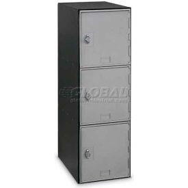 Modular Box Locker 11-1/2 X 18 X 38 Three Silver Door With Hasp Lock
