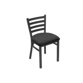 Fabric Uphostered Restaurant Chair With Ladder Back - Black