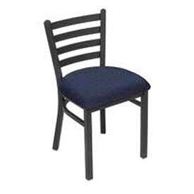Fabric Uphostered Restaurant Chair With Ladder Back - Blue - Pkg Qty 2