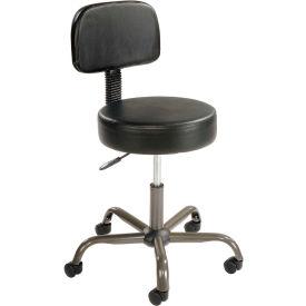 AntiMicrobial Medical Stool with Backrest - Vinyl - Black