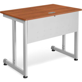 "OFM 24"" x 36"" Modular Computer and Training Table, Cherry with Silver Frame"