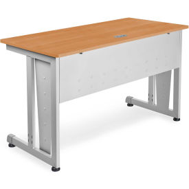 "OFM 24"" x 48"" Modular Computer and Training Table, Maple with Silver Frame"