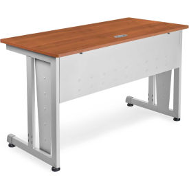"OFM 24"" x 48"" Modular Computer and Training Table, Cherry with Silver Frame"