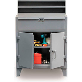 "36""W x 28""D Cabinet Shop Desk with Drawer - Gray"