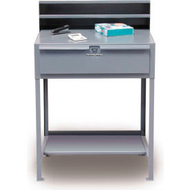 "36""W x 28""D Open Leg Shop Desk with Drawer - Gray"