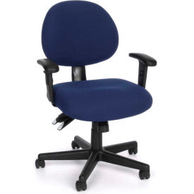 OFM 24 Hour Ergonomic Upholstered Task Chair with Arms, Blue