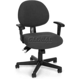 OFM 24 Hour Ergonomic Upholstered Task Chair with Arms, Charcoal