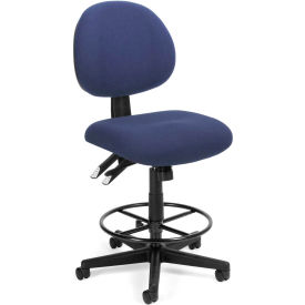 OFM 24 Hour Ergonomic Upholstered Armless Task Chair with Drafting Kit, Blue