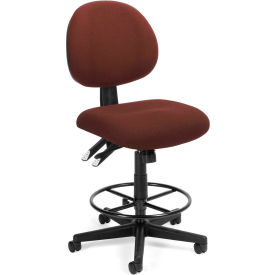 OFM 24 Hour Ergonomic Upholstered Armless Task Chair with Drafting Kit, Burgundy