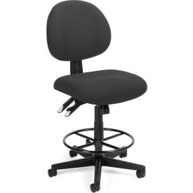 OFM 24 Hour Ergonomic Upholstered Armless Task Chair with Drafting Kit, Charcoal