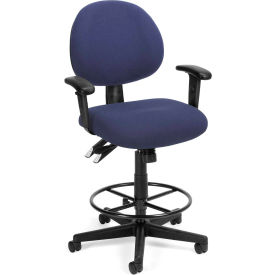 OFM 24 Hour Ergonomic Upholstered Task Chair with Arms and Drafting Kit, Blue
