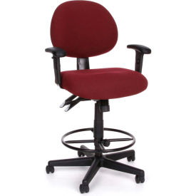 OFM 24 Hour Ergonomic Upholstered Task Chair with Arms and Drafting Kit, Burgundy