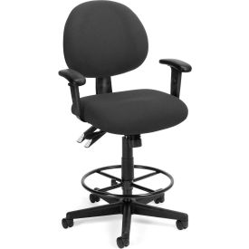 OFM 24 Hour Ergonomic Upholstered Task Chair with Arms and Drafting Kit, Charcoal