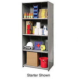 "Hallowell Steel Shelving 22 Ga 48""Wx24""Dx87""H Closed Clip 5 Shelf Add-On"