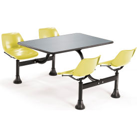 """OFM Cluster Seating Table with 24"""" Stainless Steel Top and Yellow Seats"""