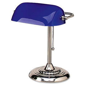 "Traditional Banker's Lamp, 14"" High, Cobalt Blue Glass Shade, Chrome Base"