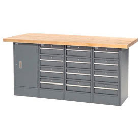 """72""""W x 24""""D Maple Top 12 Drawer/1 Cabinet Workbench"""