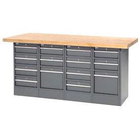 "72""W x 24""D Maple Top 14 Drawer Workbench"
