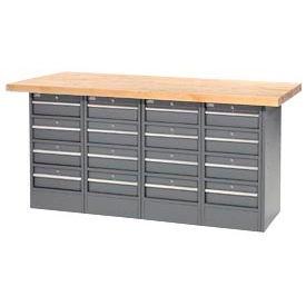 "72""W x 24""D Maple Top 16 Drawer Workbench"