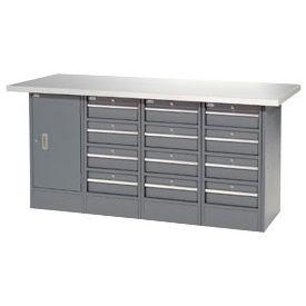 "72""W x 24""D Plastic Top 12 Drawer/1 Cabinet Workbench"