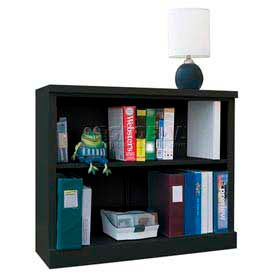 """Steel Bookcase 2 Shelves 34-1/2""""W x 13""""D x 30""""H Easy Assembly Black"""