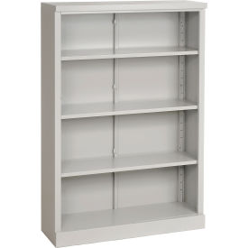 "Steel Bookcase 4 Shelves 34-1/2""W x 13""D x 52""H Easy Assembly Dove Gray"